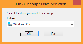 Disk CleanUp Drive Selection Page