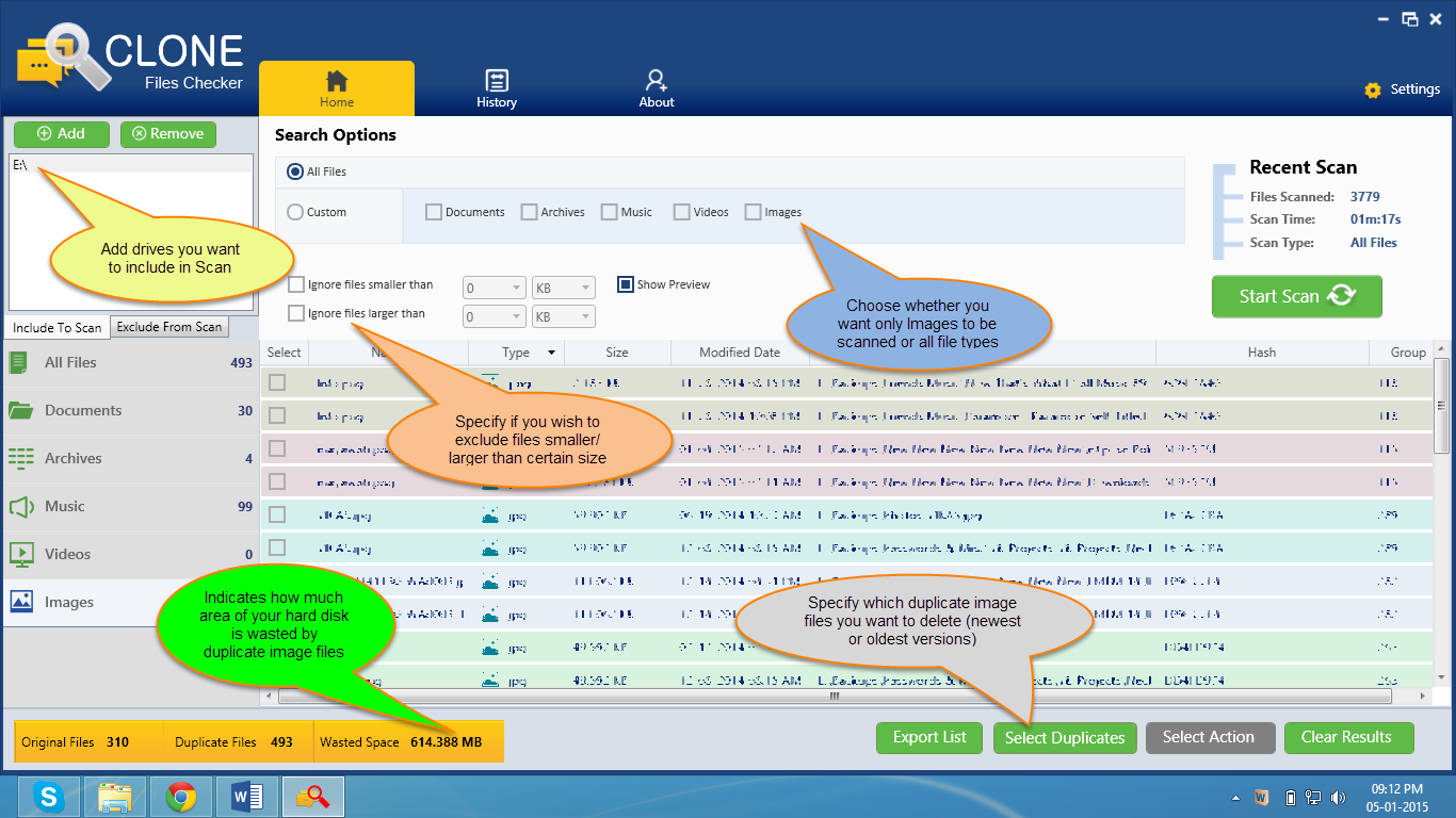 Familiarizing with Clone Files Checker User Interface