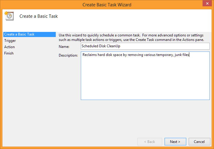 Create basic task wizard